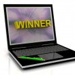 WINNER message on laptop screen — Stock Photo