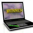 WINNER message on laptop screen — Stock Photo