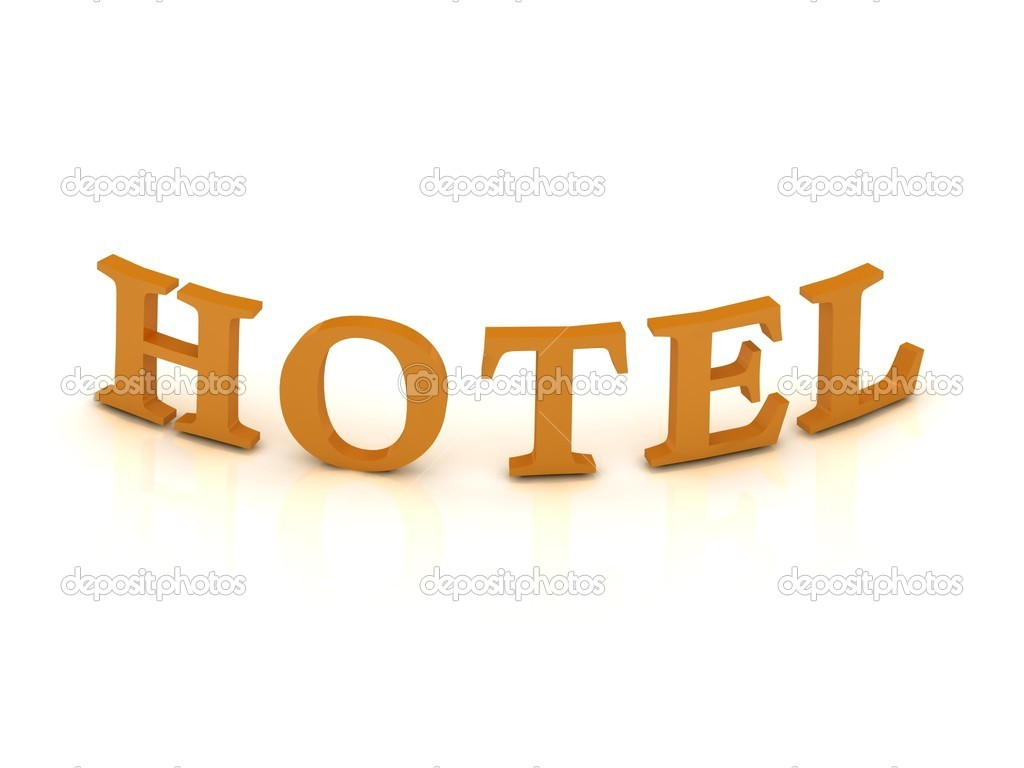 HOTEL sign with orange letters on isolated white background — Stock Photo #12042298