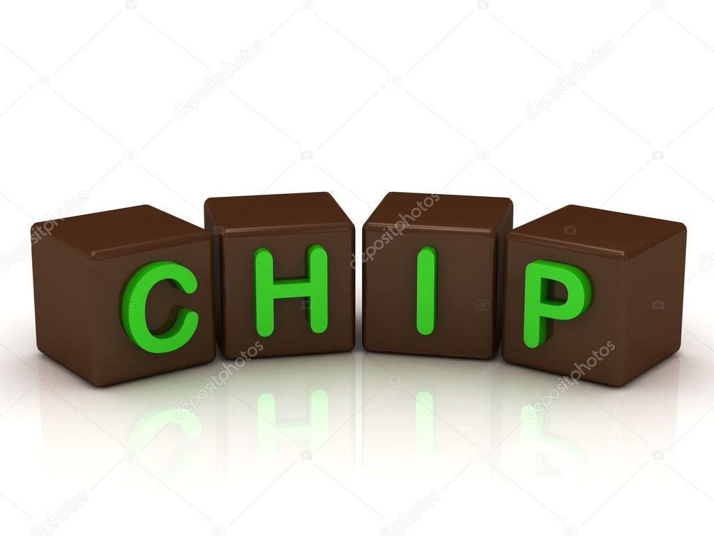CHIP inscription bright green letters on the cubes of chocolate isolated on white background — Stock Photo #12047848