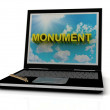 MONUMENT sign on laptop screen — Stock Photo