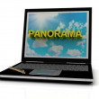 PANORAMA sign on laptop screen — Stock Photo