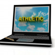 ATHLETIC sign on laptop screen — Stock Photo