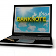 BANKNOTE sign on laptop screen — Stock Photo