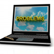 PROBLEMS sign on laptop screen — Stock Photo