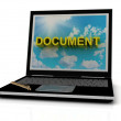DOCUMENT sign on laptop screen — Stockfoto