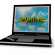 SPORTIVE sign on laptop screen — 图库照片