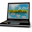DOWNTOWN sign on laptop screen — Stock Photo