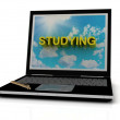 STUDYING sign on laptop screen — Stockfoto