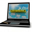 SWIMMING sign on laptop screen — Stock Photo #12327983