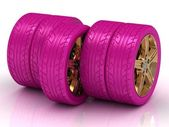Concept of five pink wheels — Stock Photo