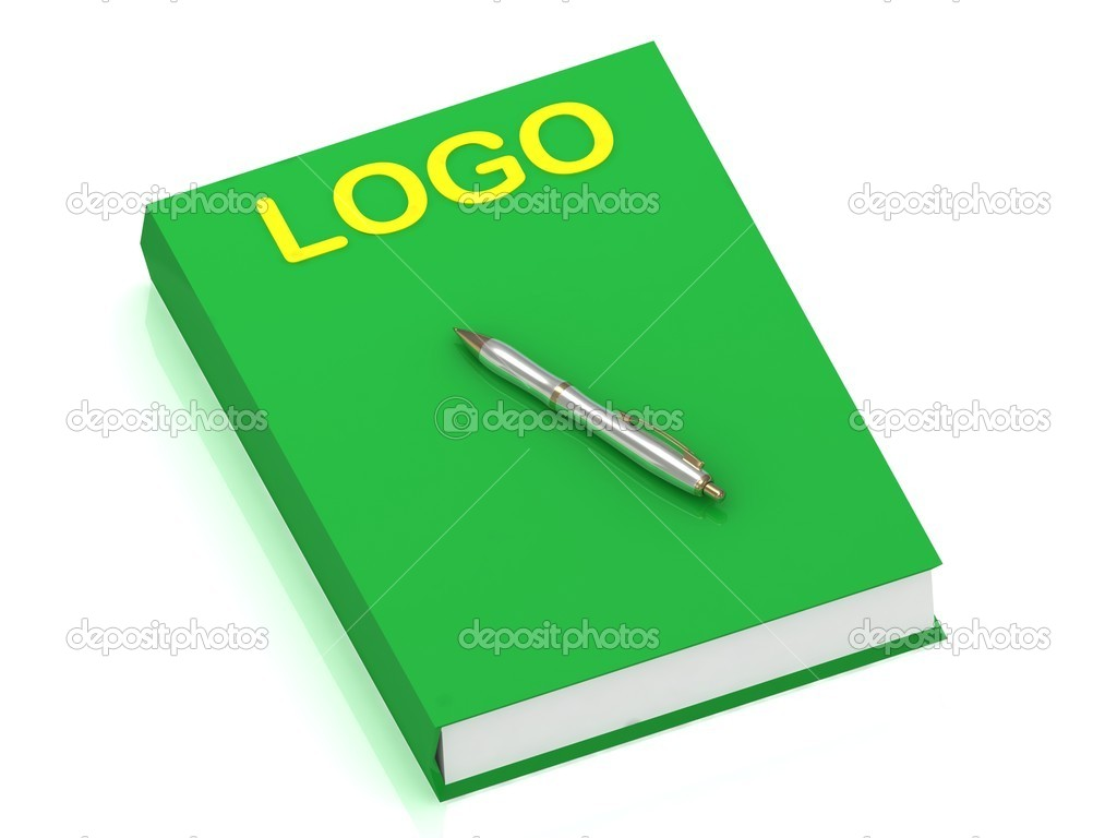 LOGO name on cover book and silver pen on the book. 3D illustration isolated on white background — Stock Photo #12323897