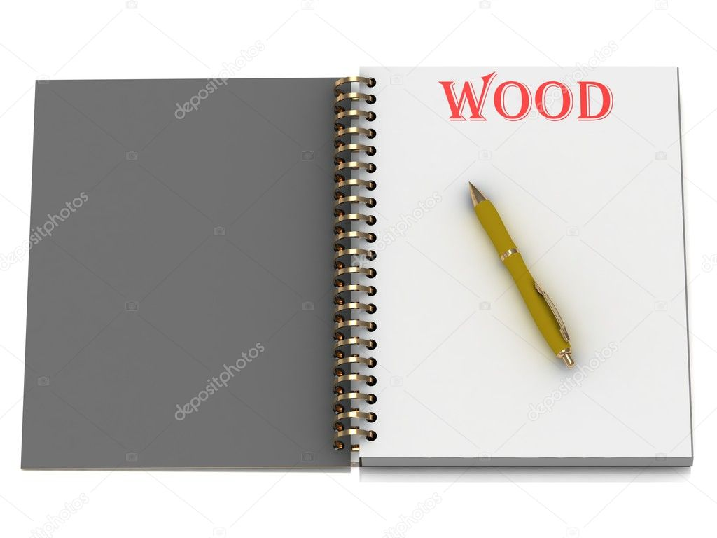 WOOD word on notebook page and the yellow handle. 3D illustration isolated on white background — Stock Photo #12327395