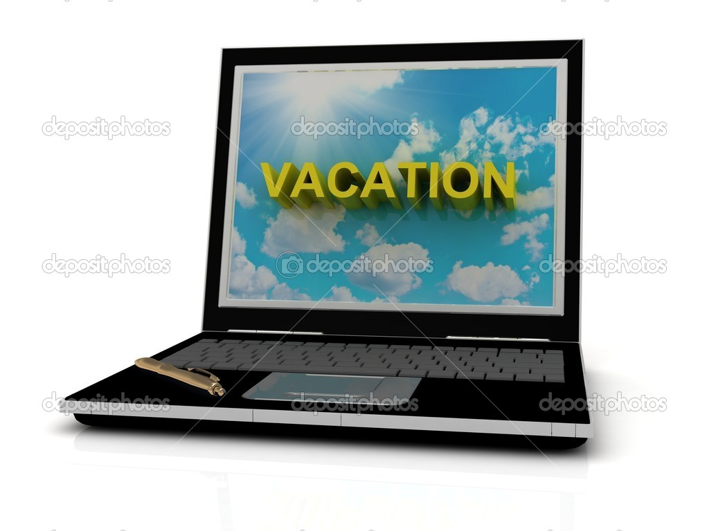 VACATION sign on laptop screen of the yellow letters on a background of sky, sun and clouds — Stock Photo #12328080