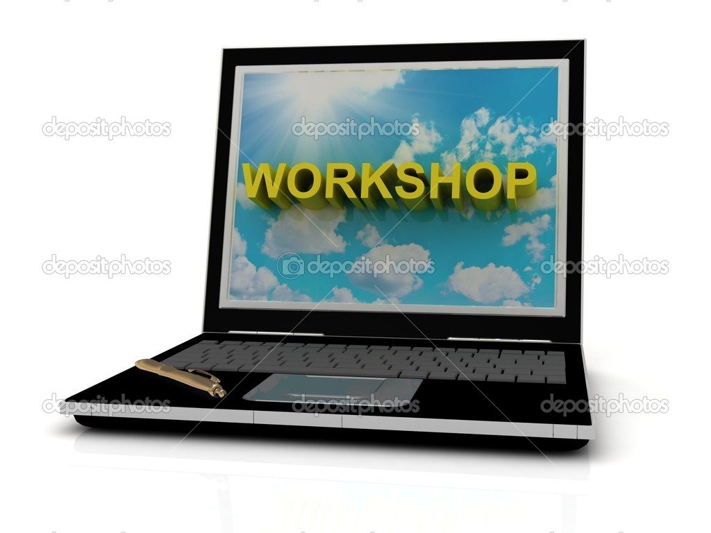 WORKSHOP sign on laptop screen of the yellow letters on a background of sky, sun and clouds — Stock Photo #12328108