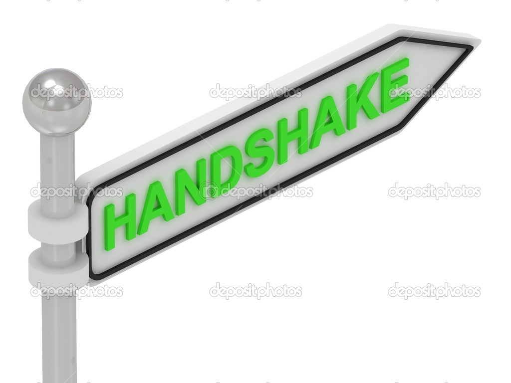 HANDSHAKE word on arrow pointer on isolated white background  Stock Photo #12328673