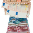 Euro money in a box . — Stockfoto