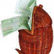 Stock Photo: Cash euros in a wattled frog.