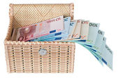 Euro money in a box . — Stock Photo