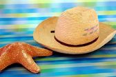 Men's straw beach hat next and the sea star — Stock Photo