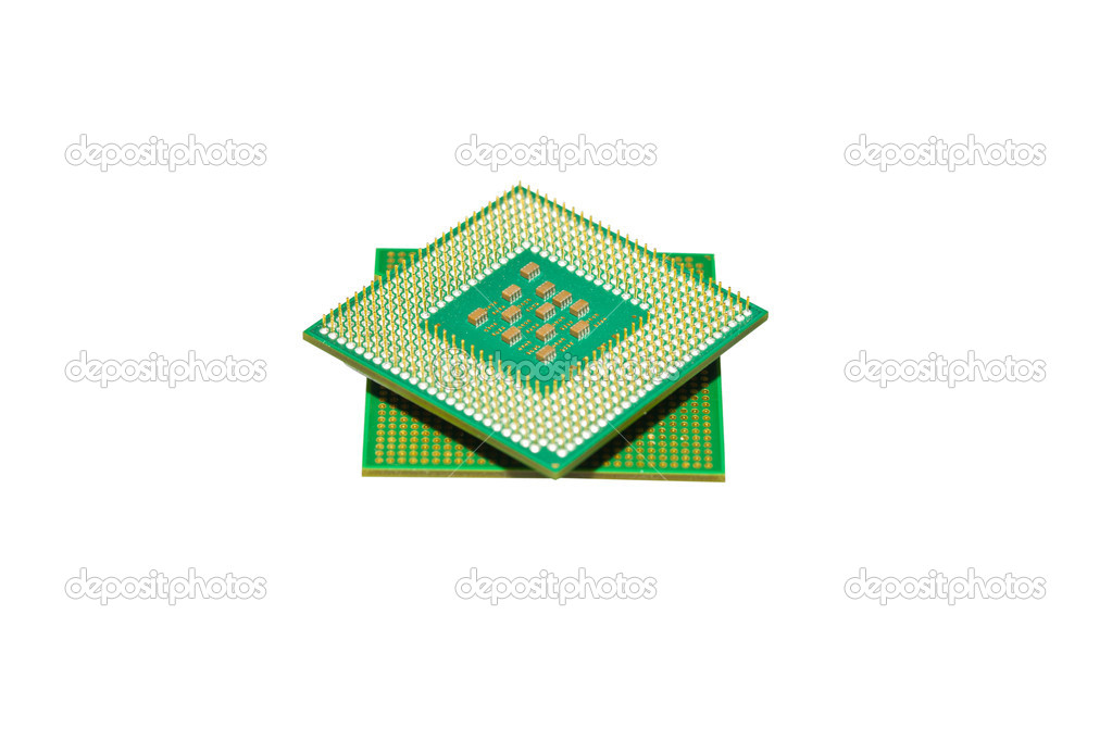 Different processors for the computer on a white background — Stock Photo #11006759