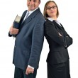 Smiling confident business colleagues in suits standing back to — Stock Photo