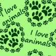 I love animals seamless pattern — Stock Vector