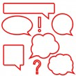 Set of bright red speech bubbles — Stock Vector