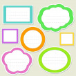 Stock Vector: Set of striped paper speech bubbles