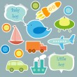 Vector de stock : Set of elements for scrapbook for baby boy