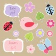 Set of elements for scrapbook for baby girl — Stock Vector