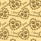 I love animals pattern — Stock Vector