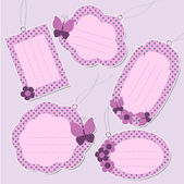 Set of cute purple tags — Stock Vector