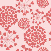 Seamless floral pattern with hearts — Stock Vector