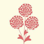 ładny unikatowy karta kwiatowy z serca — Wektor stockowy