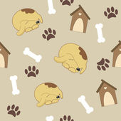 Seamless pattern with dog, dog house, bone — Stock Vector