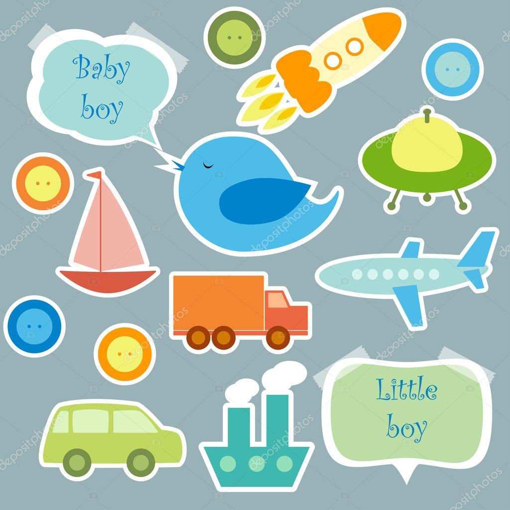 Set of elements for scrapbook for baby boy, eps 10 — Stock Vector #11038924