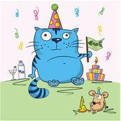 Carta di compleanno, gli amici divertenti cartoon — Vettoriale Stock