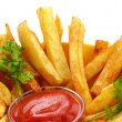 Stock Photo: French fries with ketchup