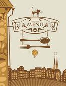 Restaurant and cat — Stock Vector