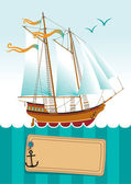 Yacht at sea — Stock Vector