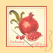 Embroidered with pomegranates — Stock Vector