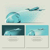 Plane and planet — Stock Vector
