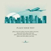 Plane over city — Stock Vector