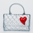 Lady's satchel woven wire mesh — Stock Photo