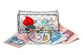 Lady's satchel woven wire mesh with money — Stock Photo