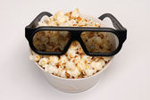 Pop-corn with 3D glasses — Stock Photo