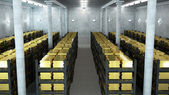 Bank vault with gold bars — Stock Photo
