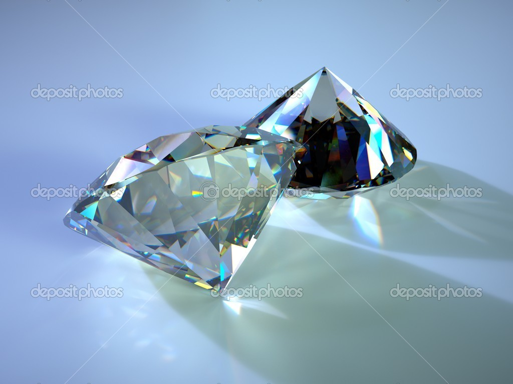Two gems with caustics placed on blue plane — Stock Photo #11850314