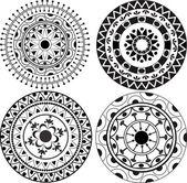 Ethnic lacy mandala patterns — Stock Vector